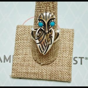 NEW CAROLYN POLLACK / AW 925 TURQUOISE OWL RING 9